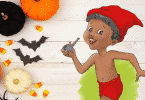 Ilustração do Saci Pererê ao lado de abóboras de decorações de Halloween.