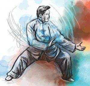 An hand drawn illustration (converted into vector) from series Martial Arts: TAIJI (Tai Chi). Is an internal Chinese martial art practiced for both its defense training and its health benefits.