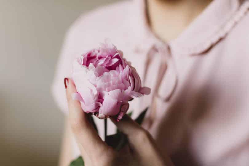 Mulher serandando uma rosa