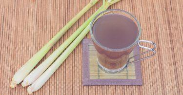 Thai herbal drinks Lemon grass water wooden floor background