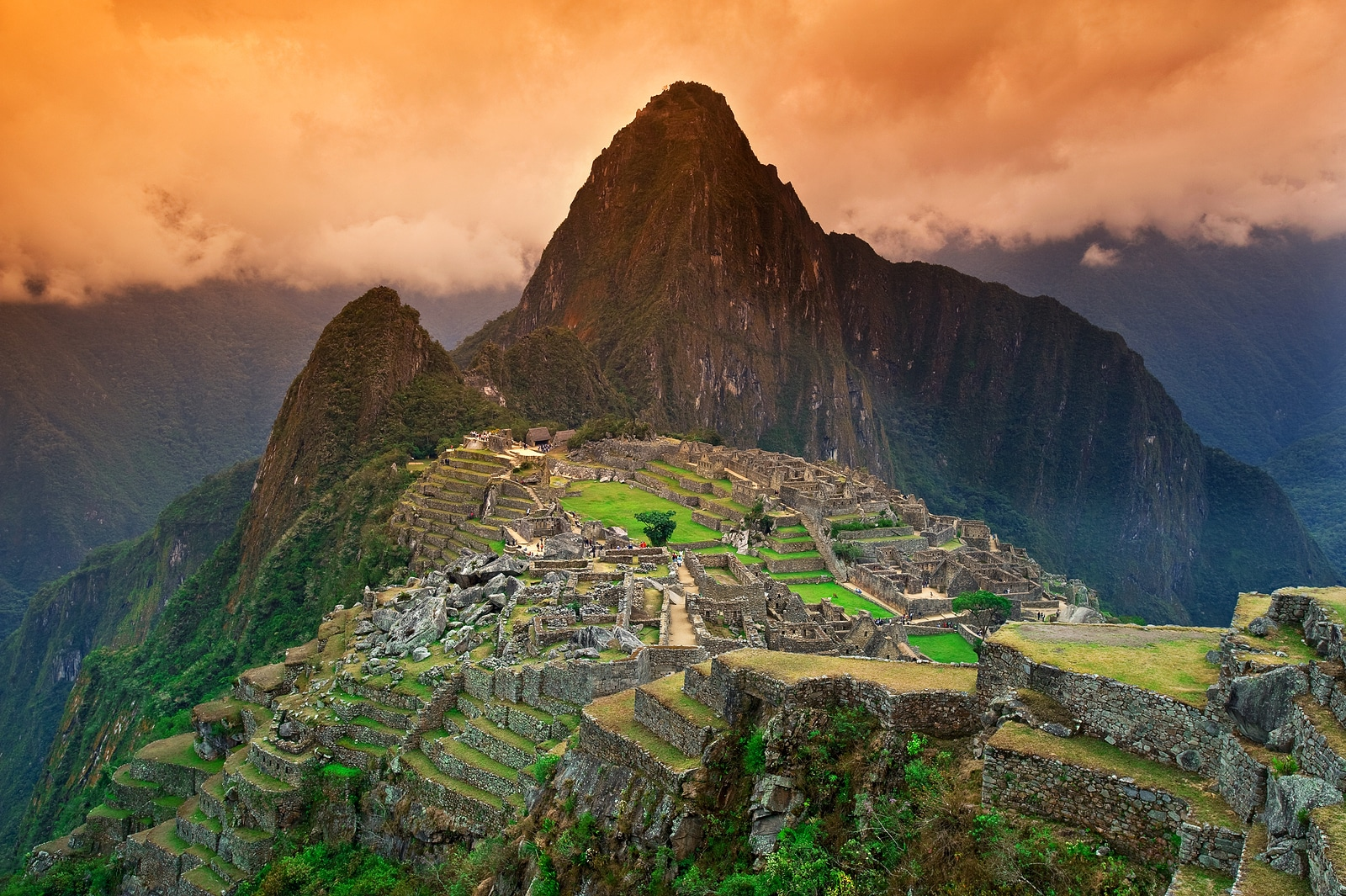 View of the Lost Incan City of Machu Picchu near Cusco Peru. ** Note: Slight blurriness, best at smaller sizes