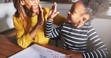 Learning to calculate high five success black mother and child