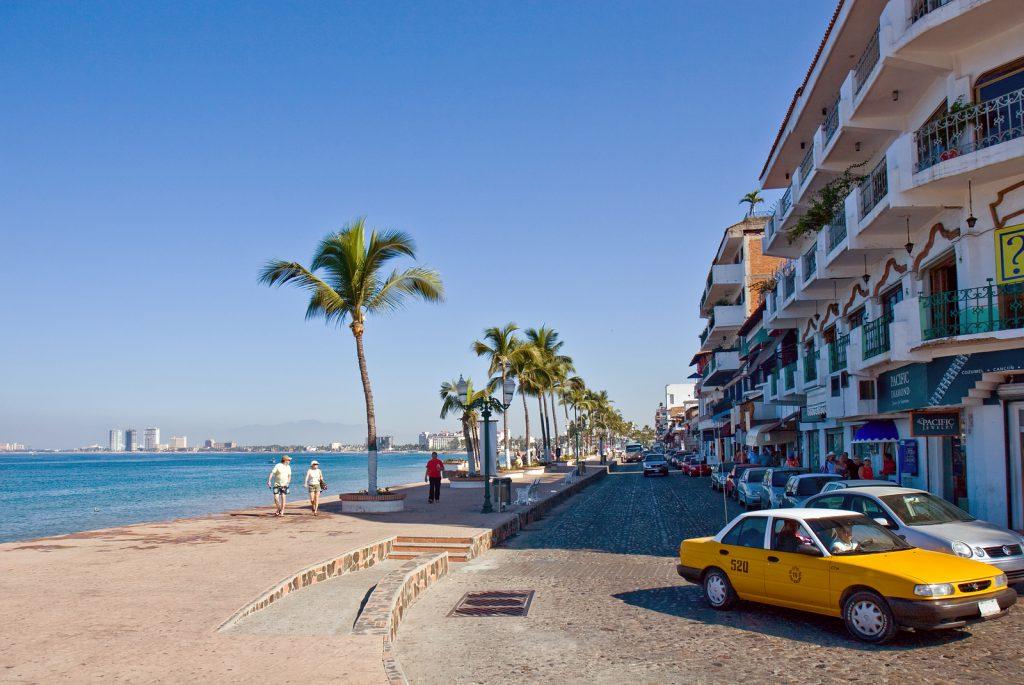 View of the main road along the coast of Puerto Vallarta Mexico