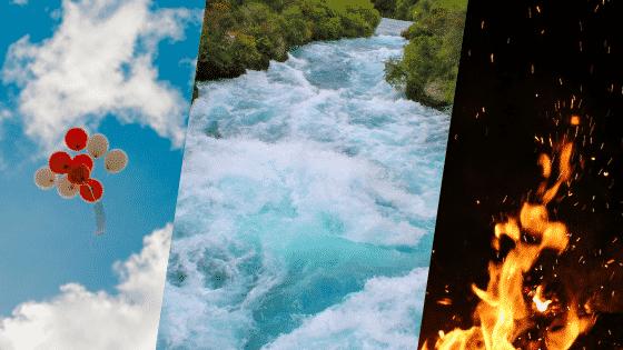 Montagem representando os elementos de ar, água e fogo, lado a lado.