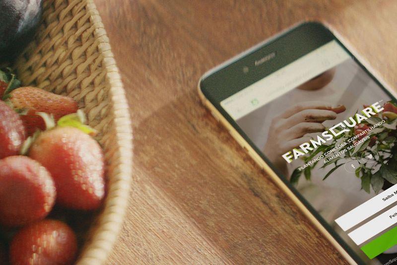 Mesa com cestas de morango e ao lado um celular com o aplicativo do Farmsquare