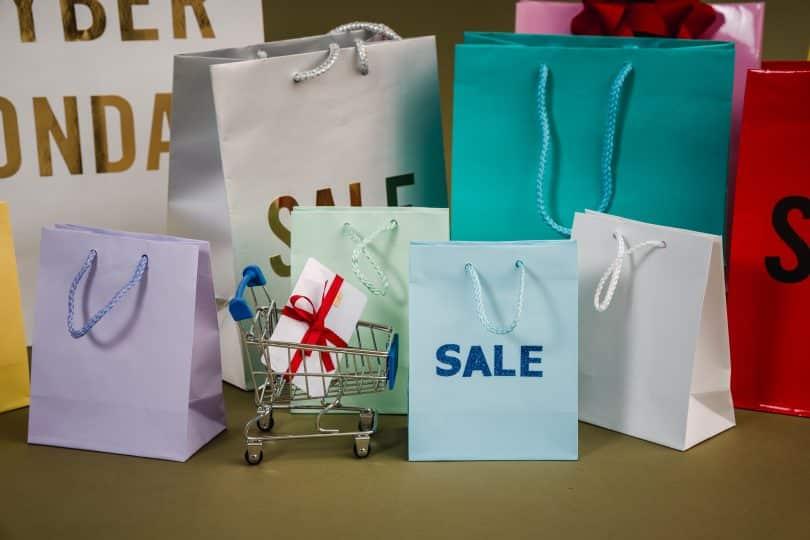 Sacolas de compras em promoção