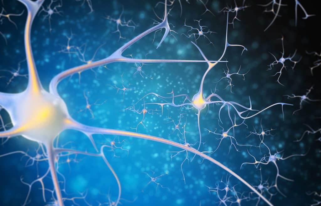 Ilustração de neurônios no cérebro