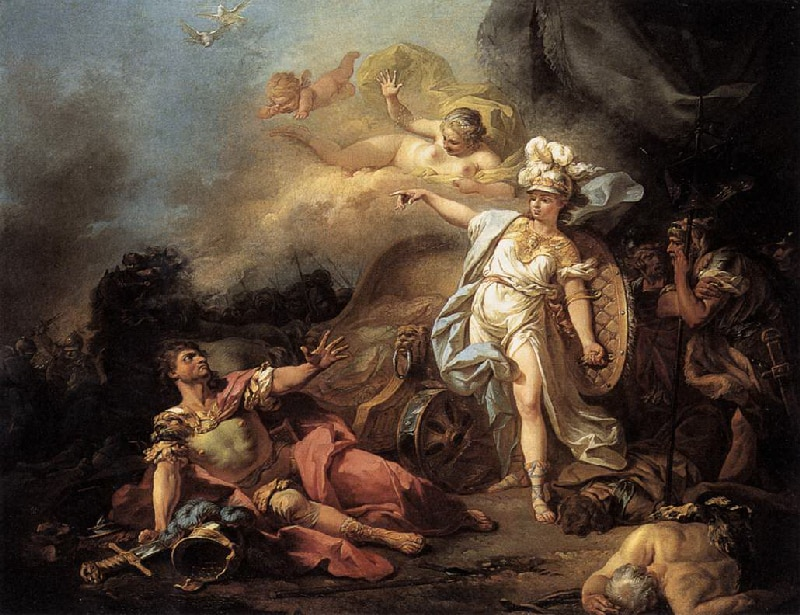 """Quadro """"O combate de Ares e Atena"""" onde mostra Ares no chão, e Atena com escudo em pé em frente a ele."""