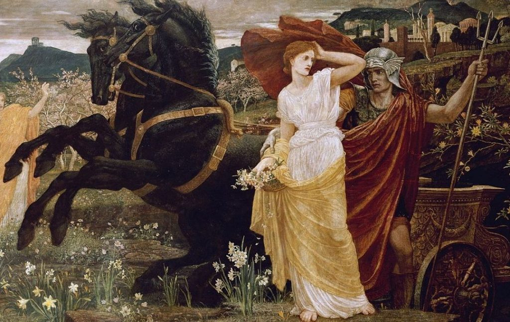 """Quadro """"O Destino de Persefone"""" onde a deusa está ao lado de um homem e de dois cavalos."""