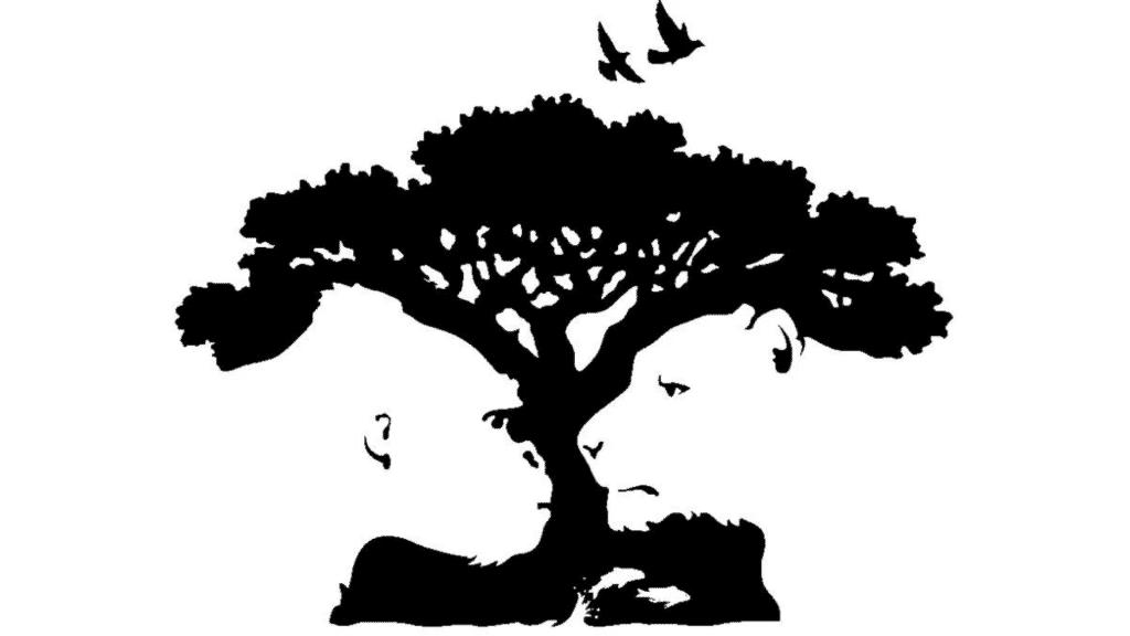 Imagem de macaco e leão em primeiro plano, silhueta de árvore em segundo plano e passáros