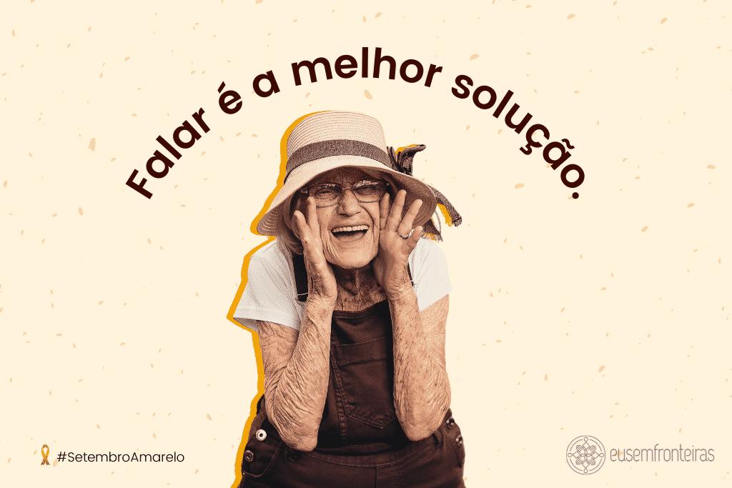 """Senhora sorrindo com a frase """"Falar é a melhor solução."""""""
