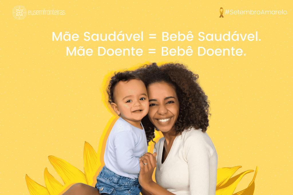 Mulher com o seu filho bebê sorrindo