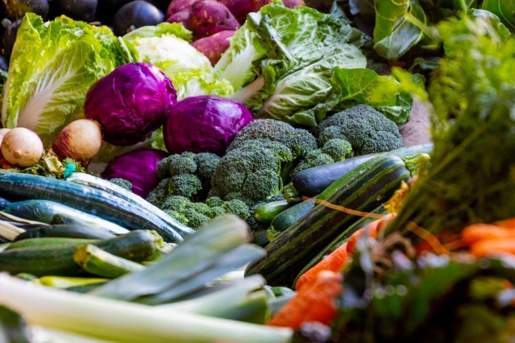 Vários tipos de legumes expostos.
