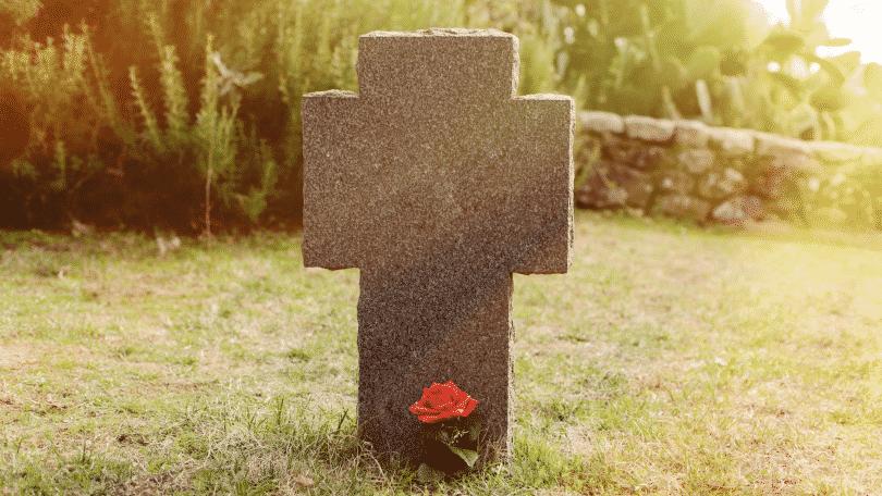 Imagem de um túmulo em formato de cruz com uma rosa vermelha