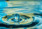 Imagem de gota d'água caindo em poça