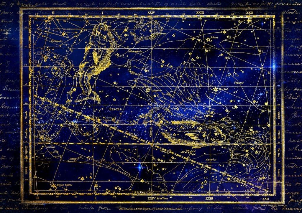 Signo do Zodíaco de Peixes com um céu estrelado ao fundo.