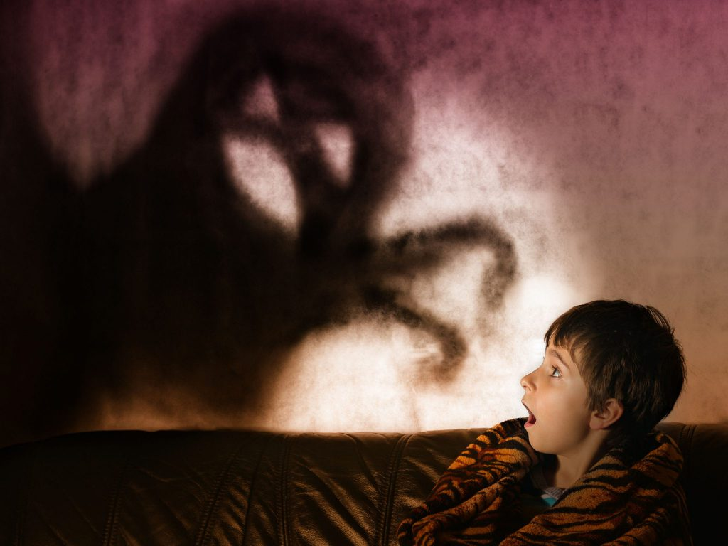 Menino pequeno olhando para algo do seu lado, que a foto não mostra, mas na parede é possível ver a sombra de um monstro.