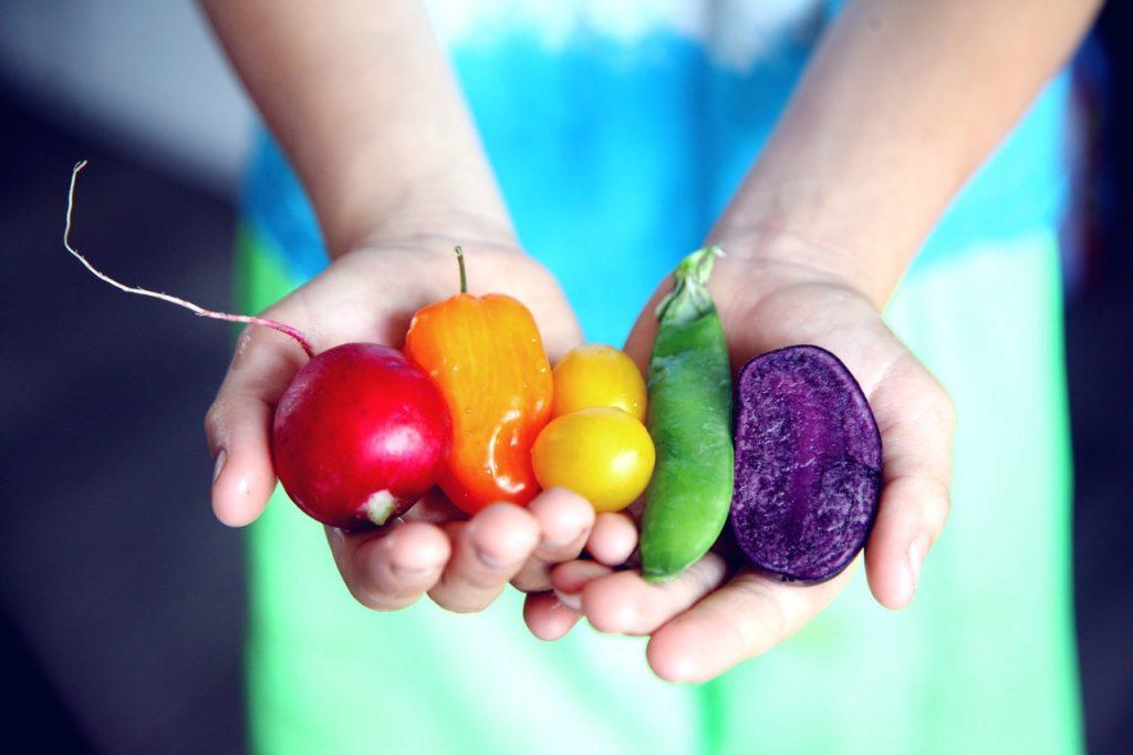 Recorte de uma pessoa segurando 5 tipos de legumes.