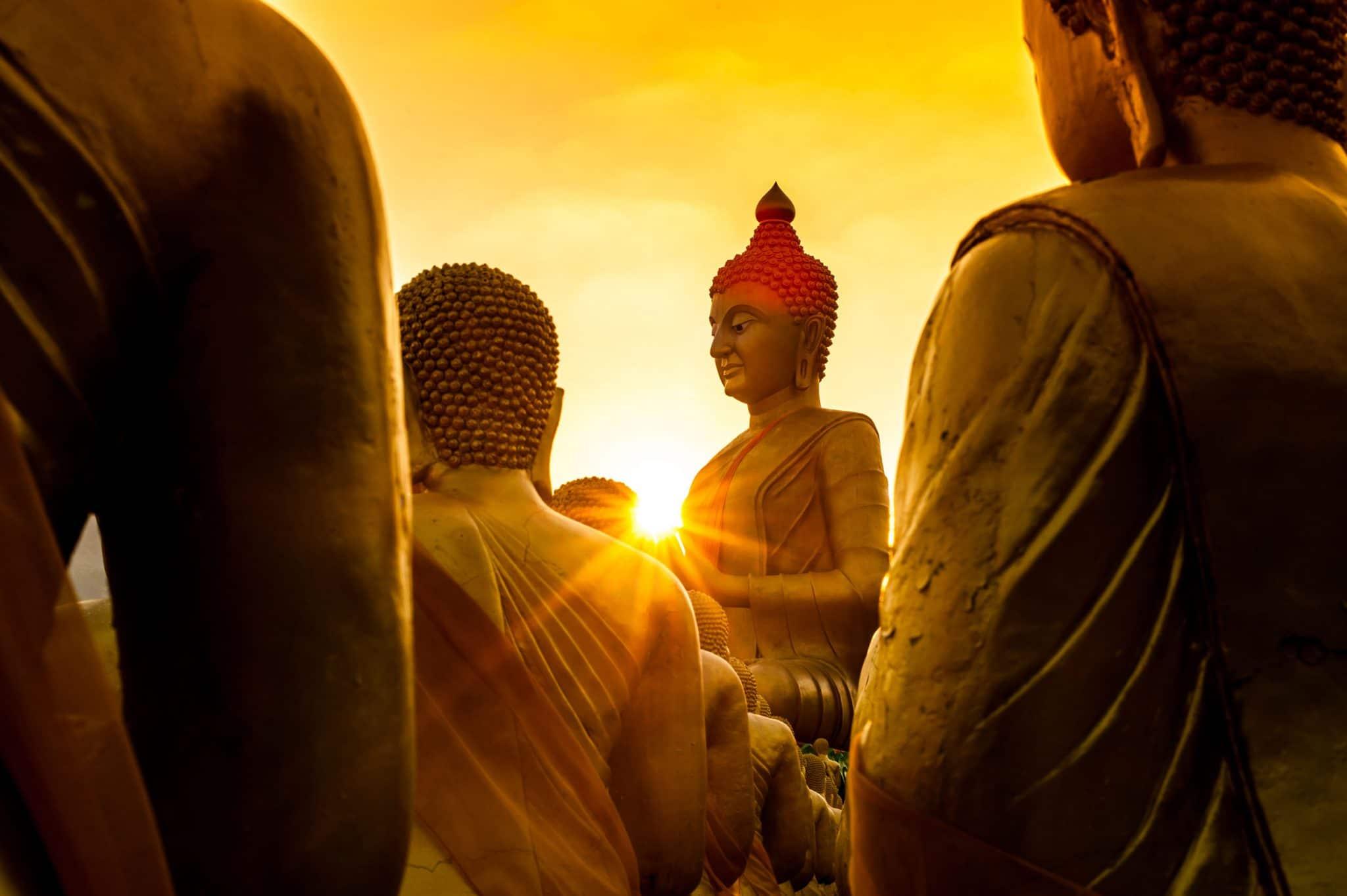 Foto em tons dourados mostra vista parcial de estátuas de buda de costas. Apenas ao centro, imagem de buda com rosto em perfil à esquerda em postura de lótus. O sol radiante está quase ao centro da foto, enquadrado à altura das mãos da estátua.