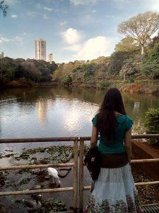 Na imagem há uma mulher com cabelos compridos e castanhos, ela está de costas vestindo uma camiseta verde com mangas e uma saia longa branca e marrom com detalhes de flores na ponta da saia. Ela está olhando para um lago com patos nas bordas, rodeado de árvores e o céu está limpo, azul e com algumas nuvens.