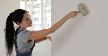 Mulher vestida de carpinteiro, pintando uma parede de branco.