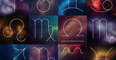 Símbolos dos signos do zodíaco, cada um em um quadrado com um fundo colorido.