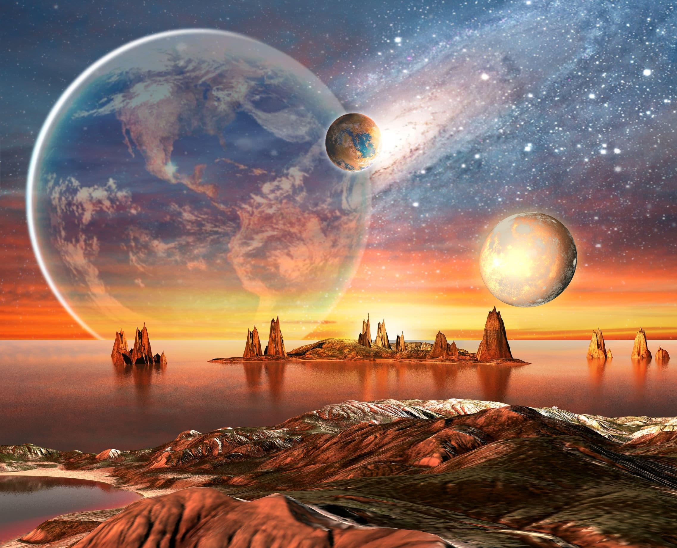 A imagem é a representação de um planeta alienígena. No céu há um planeta grande e outros dois planetas menores.