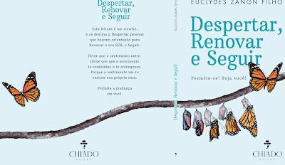 Capa do livro, em um tom azul bebê e borboletas saindo do casulo.