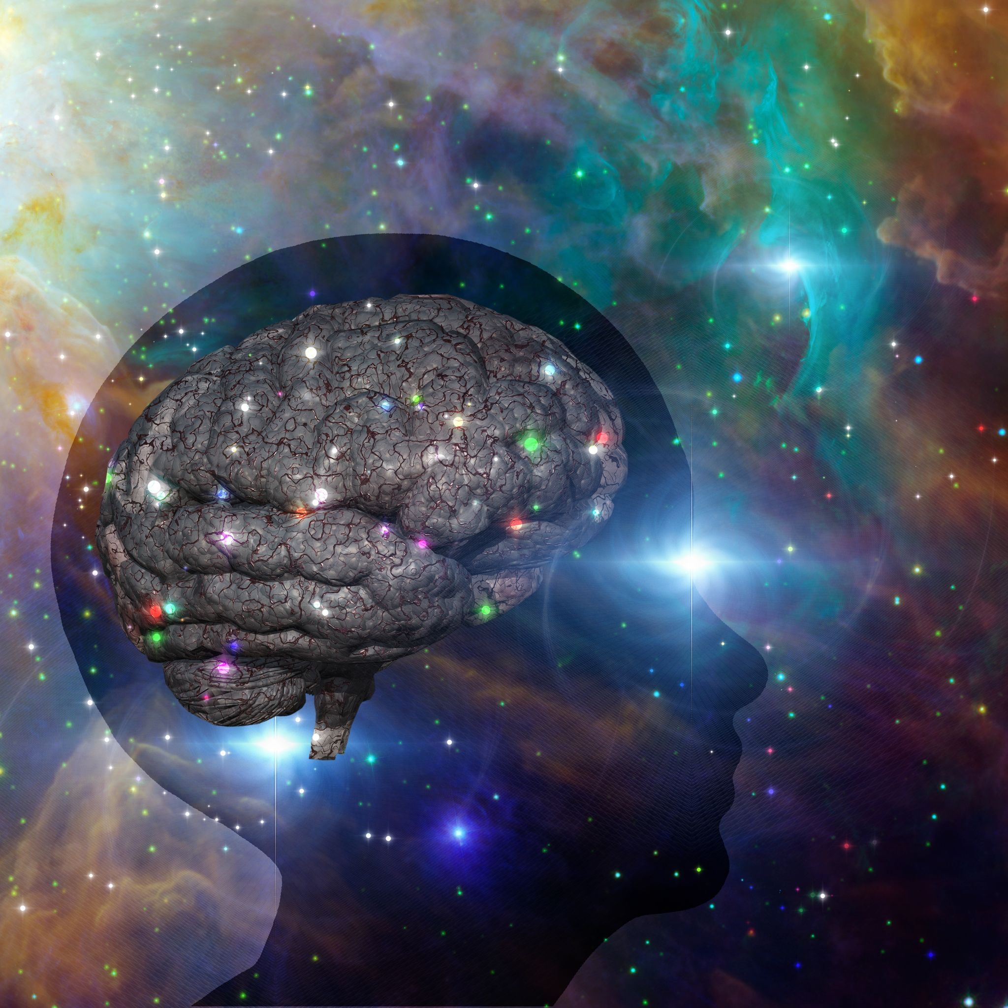 Conceito de elevação da consciência. Um cérebro dentro de uma cabeça. Fundo de universo.