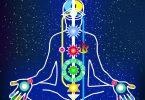 Desenho de silhueta de pessoa, sentada em posição de meditação, com os chácras em destaque.