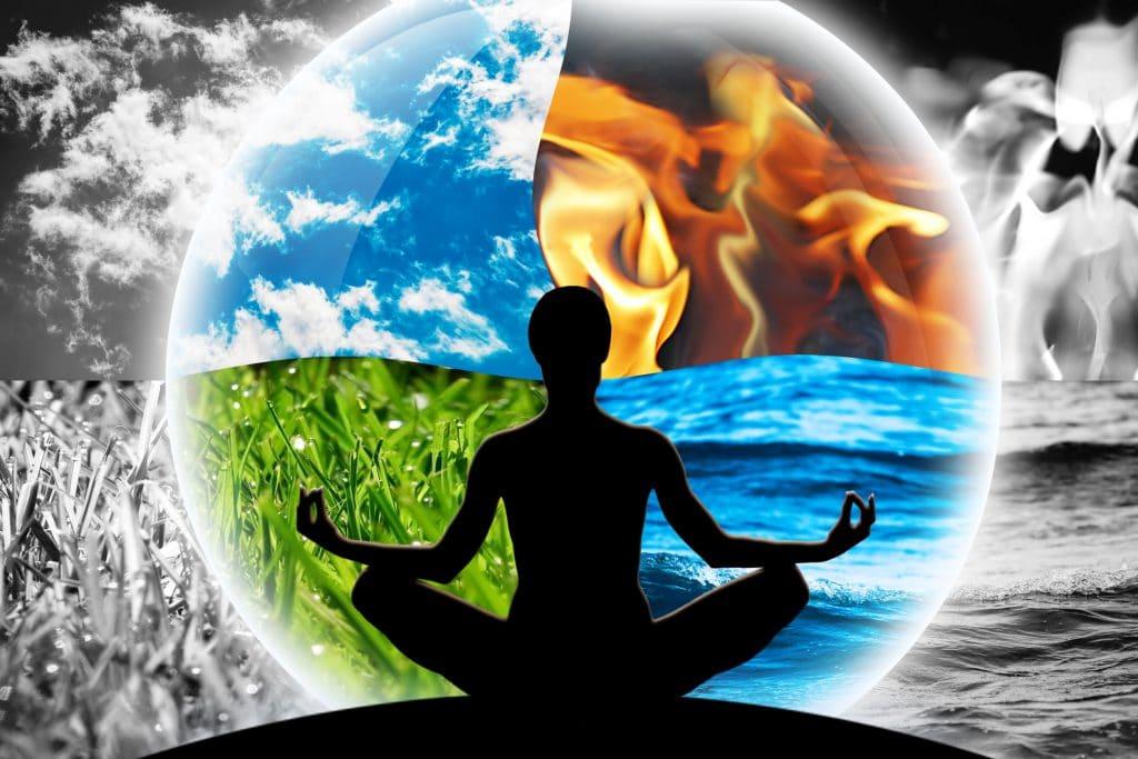 Silhueta de uma mulher em pose de meditação e ao fundo há uma divisão em quatro partes em que cada parte tem um elemento da natureza como o fogo, a água, o ar e a terra.
