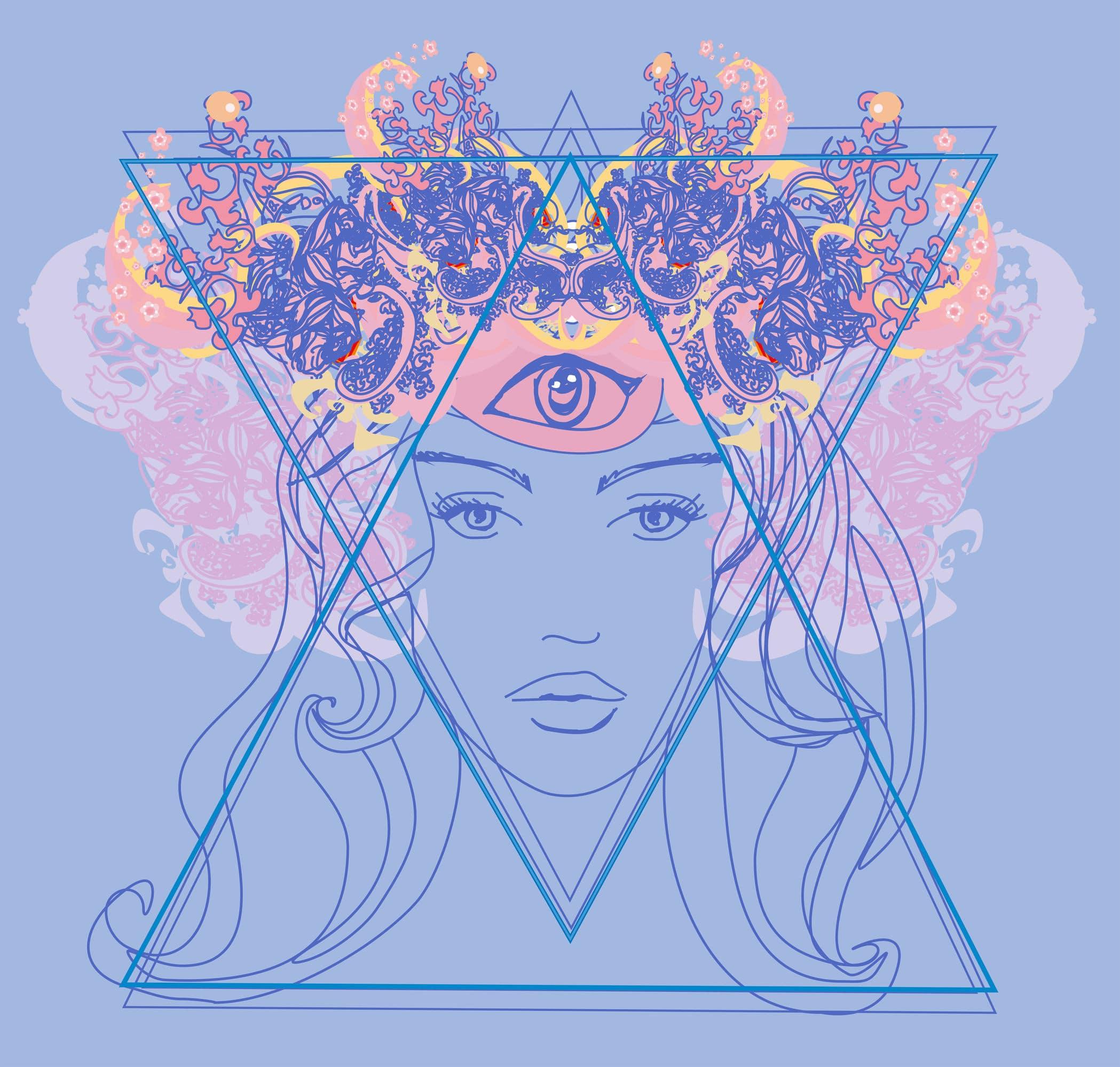 Mulher com terceiro olho. Sentidos supernaturais. Conceito de clarividência e intuição.