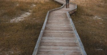 Mulher segurando criança no colo, caminhando por um pier de madeira com vegetação em volta e um lago ao fundo.