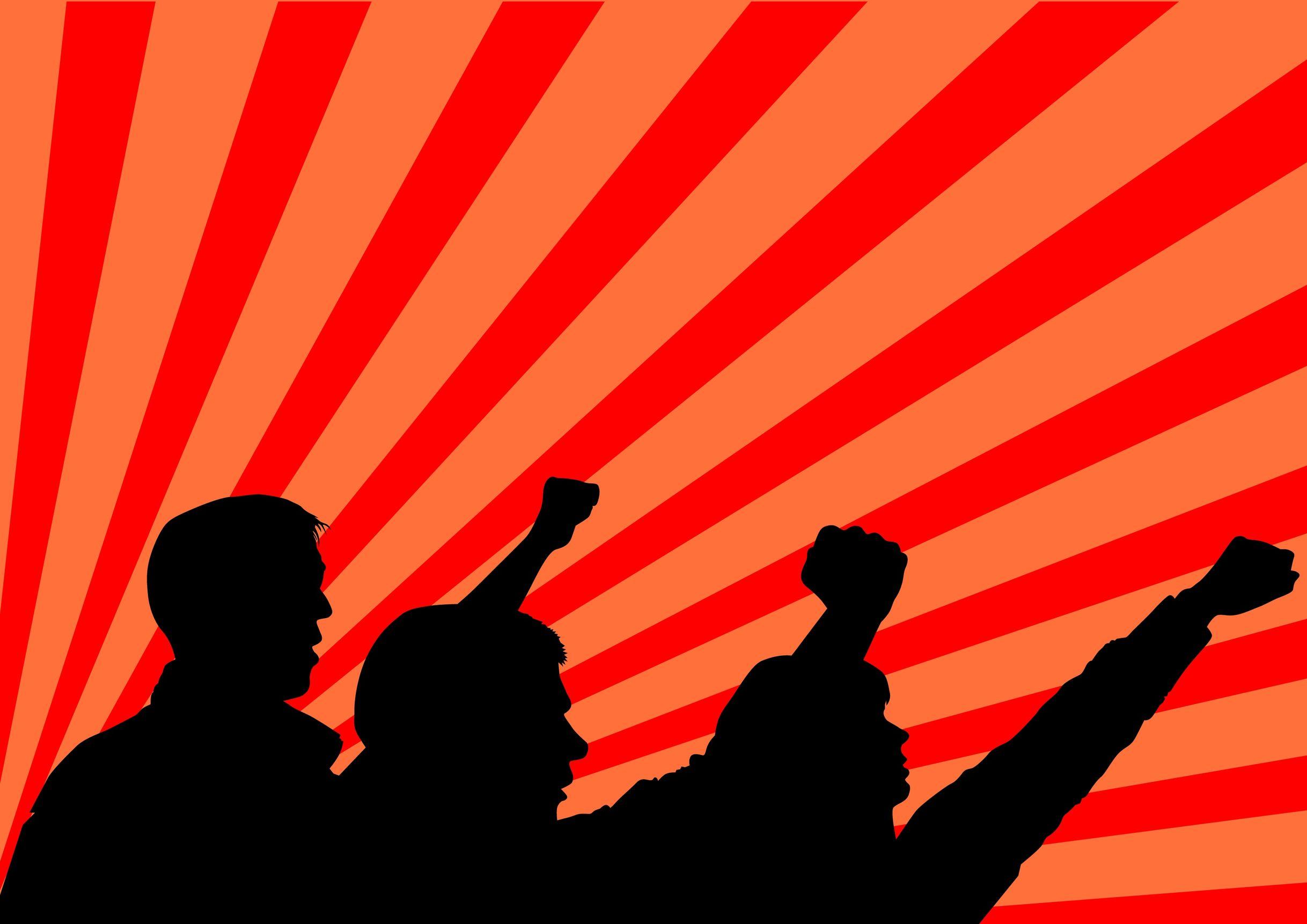 desenho de três pessoas protestando com os punhos fechados e levantados.