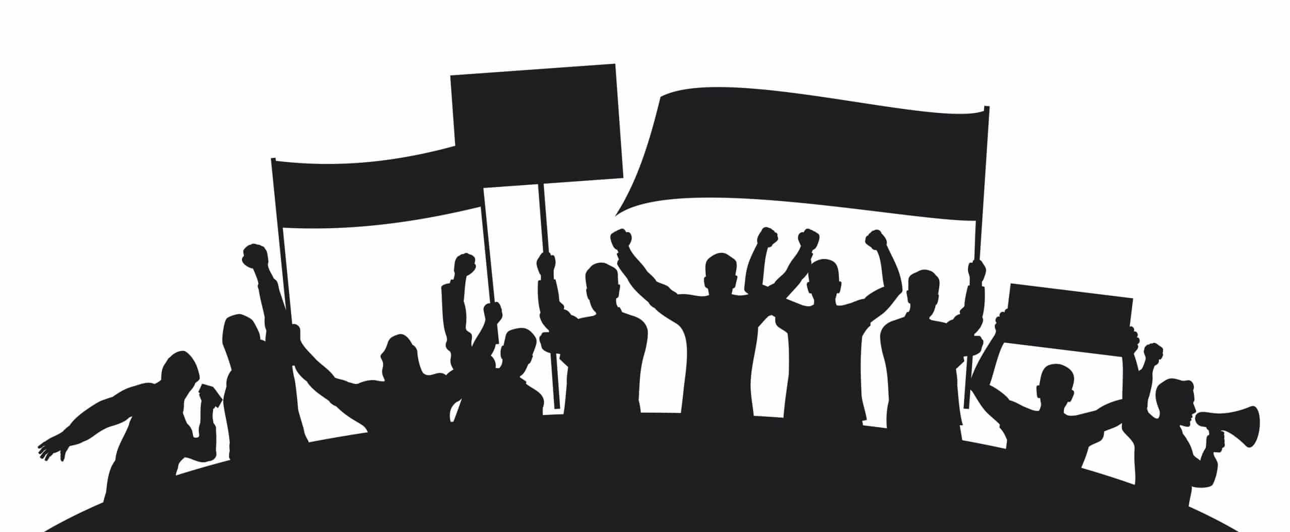 desenho de muitas pessoas furiosas protestando com cartazes e bandeiras levantadas.