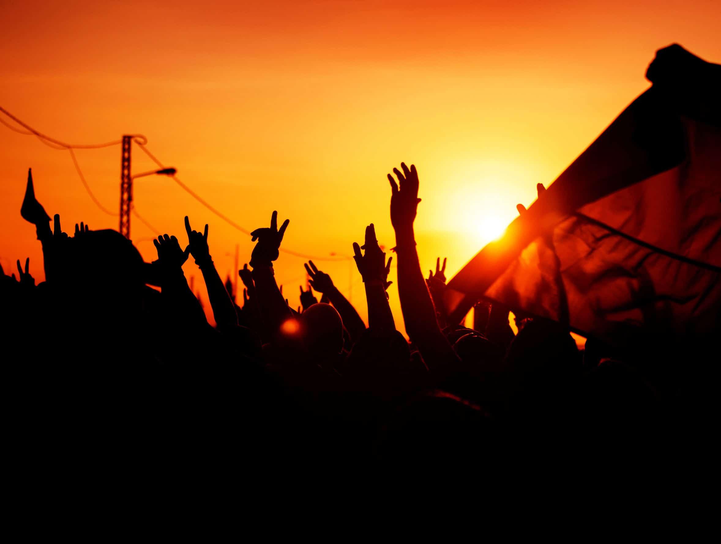 grupo de pessoas unidas em protesto, com as mãos levantadas, tendo uma delas levantando uma bandeira.