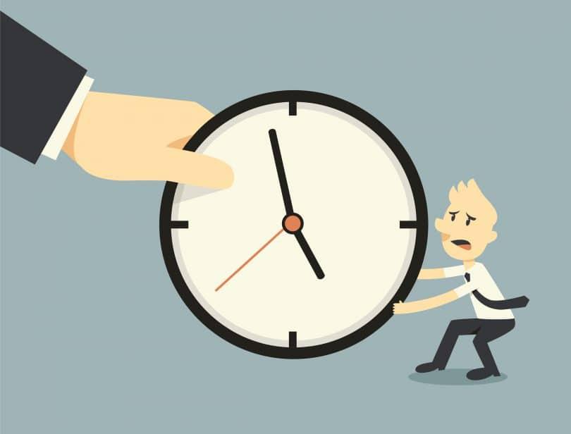 Animação de um homem puxando um relógio gigante de mãos gigantes. Conceito de lutando contra o tempo.