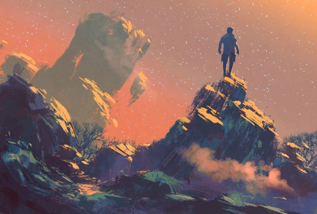 Homem em cima de uma roxa olhando o universo.
