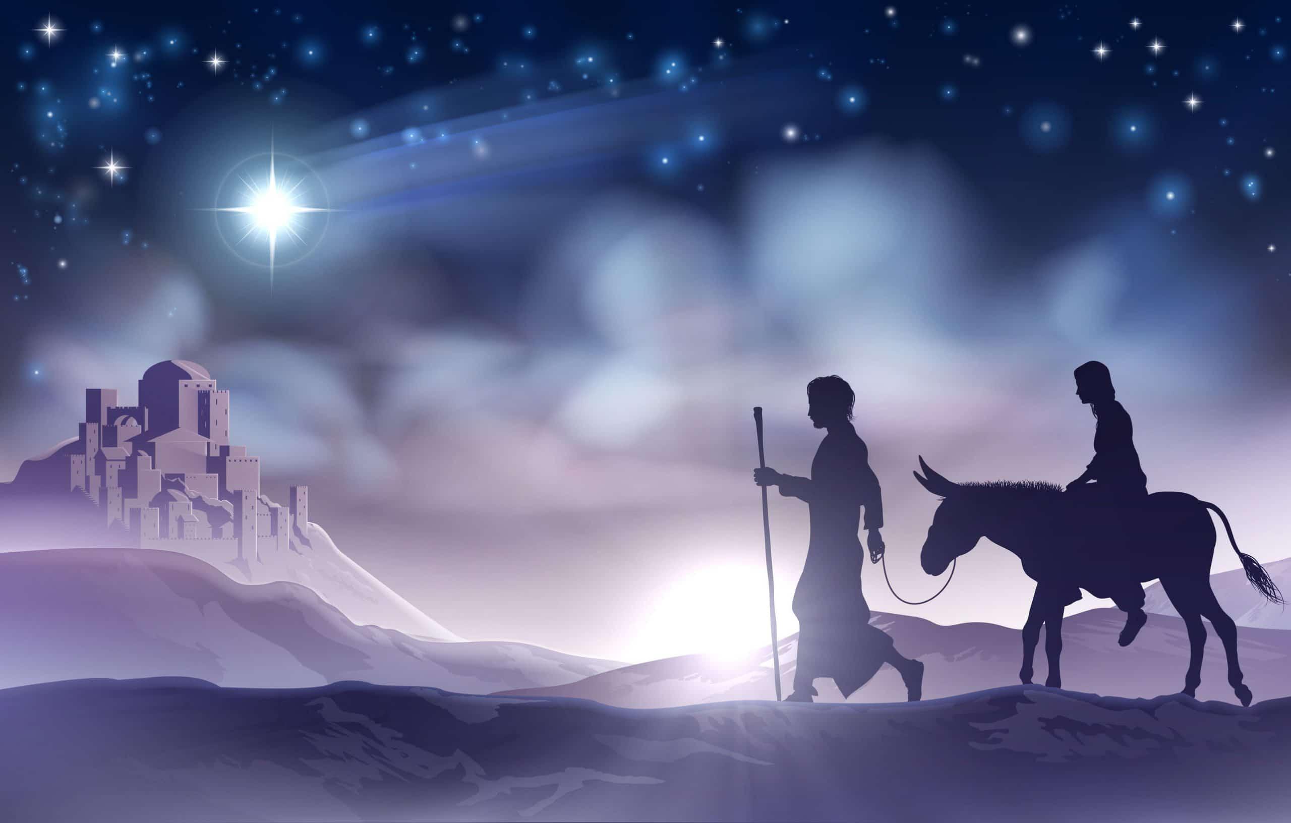 José e Maria viajando no jumento. Ao fundo uma cidade. E no céu a estrela guia