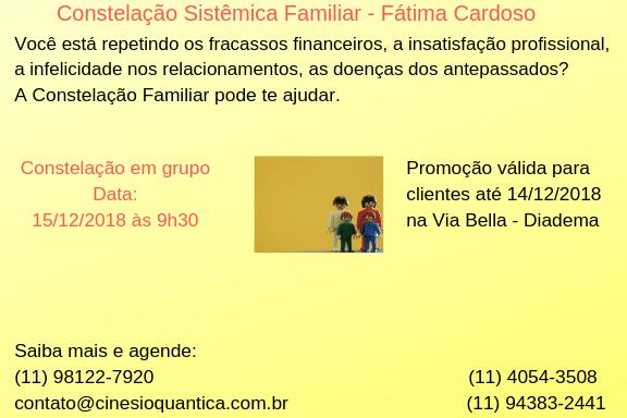 Banner com informações do curso de Constelação Sistêmica Familiar .
