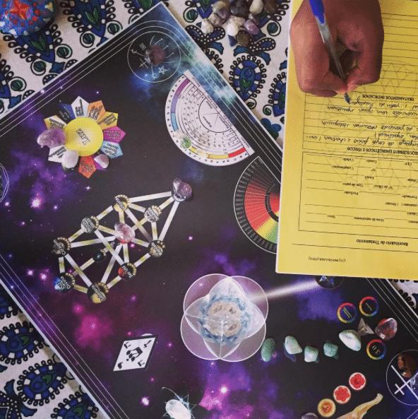 Foto de mão de pessoa escrevendo em um papel, apoiado em uma mesa quântica estelar.