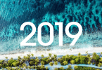 Fundo de praia vista de cima. Mar areia e árvores. 2019 em branco em cima da imagem.