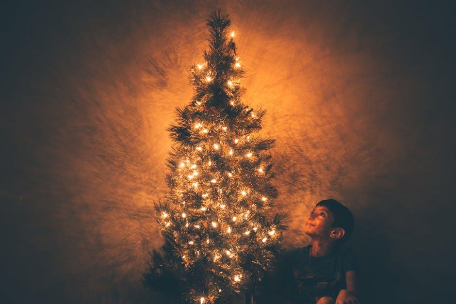 Menino ao lado de uma árvore de natal iluminada.