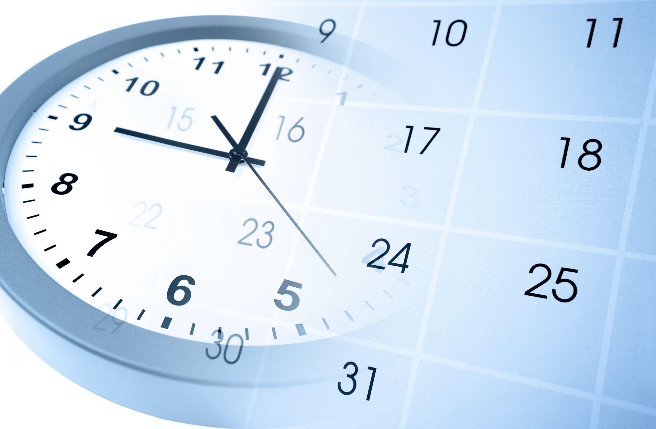 Imagem de relógio e calendário juntos
