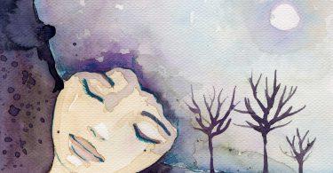 Desenho abstrato de uma menina com os olhos fechados sonhando com uma paisagem.