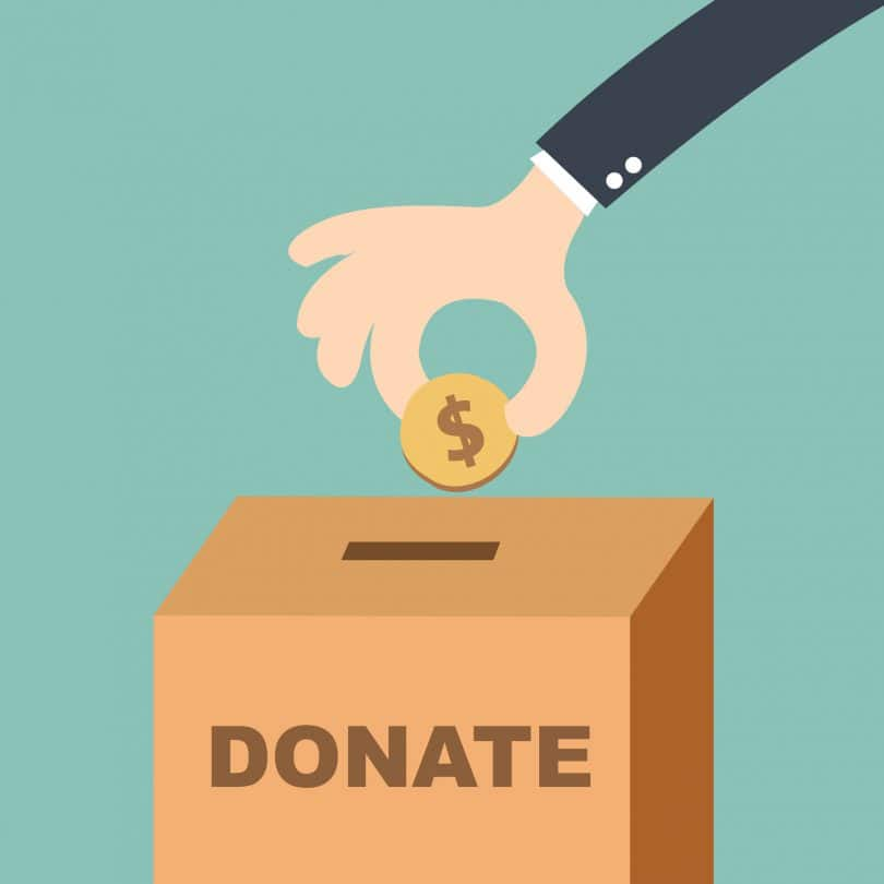 Desenho de mão pessoa colocando uma moeda em uma caixa de doações.