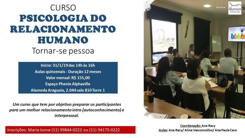 Banner com as informações do curso de Psicologia do relacionamento humano