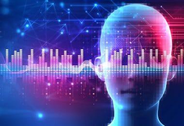 Ilustração de cabeça de pessoa em cenário com fundo colorido e ondas vibracionais.