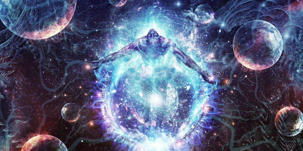 Corpo humano em expansão em uma galáxia. Simboliza o despertar da consciência.