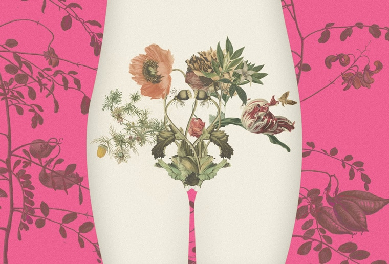 Uma imagem em fundo rosa de um corpo femino com flores abaixo do adomem